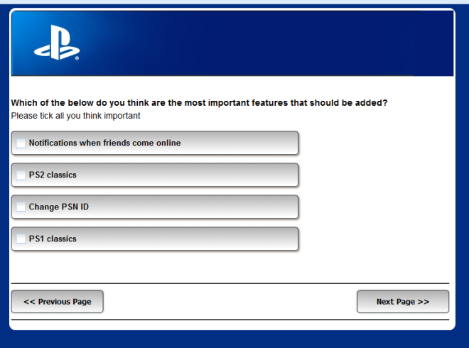 proper sony survey